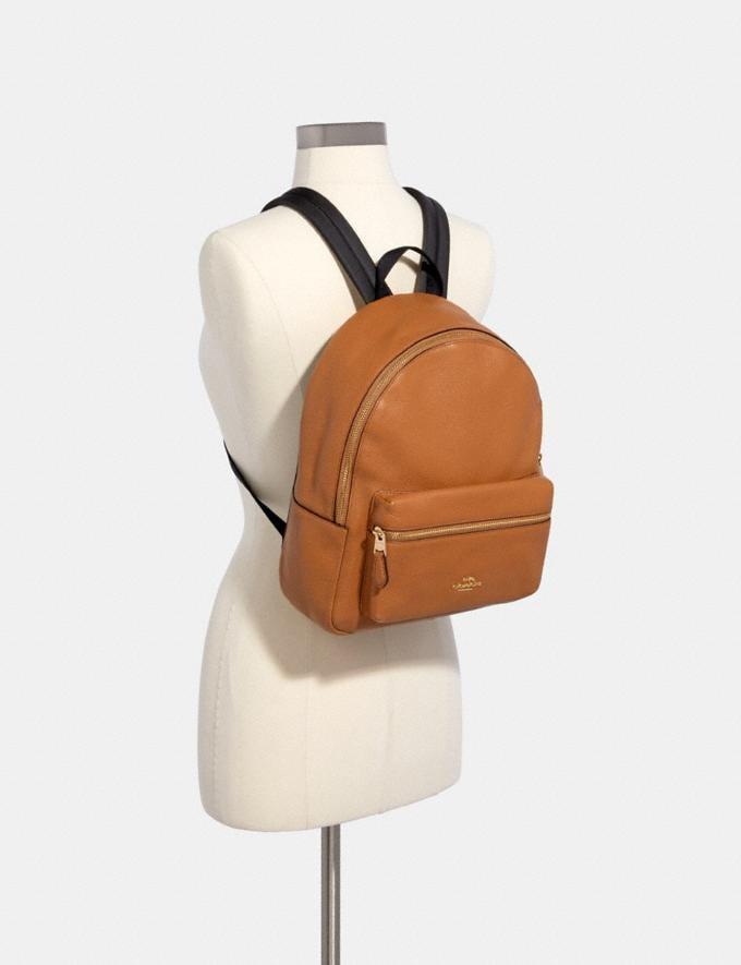 Coach Medium Charlie Backpack Light Saddle/Light Gold Explore Women Explore Women Alternate View 2