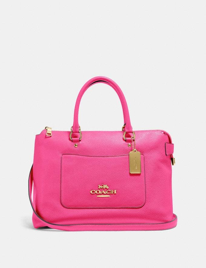 Coach Emma Satchel Pink Ruby/Gold Explore Bags Bags Business Bags
