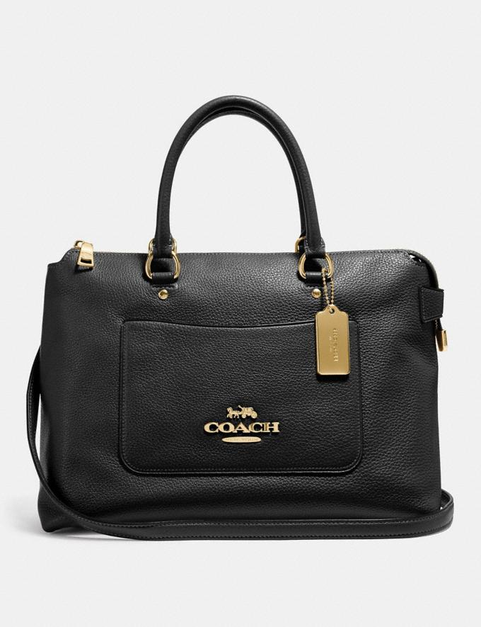 Coach Emma Satchel Black/Light Gold Explore Bags Bags Business Bags