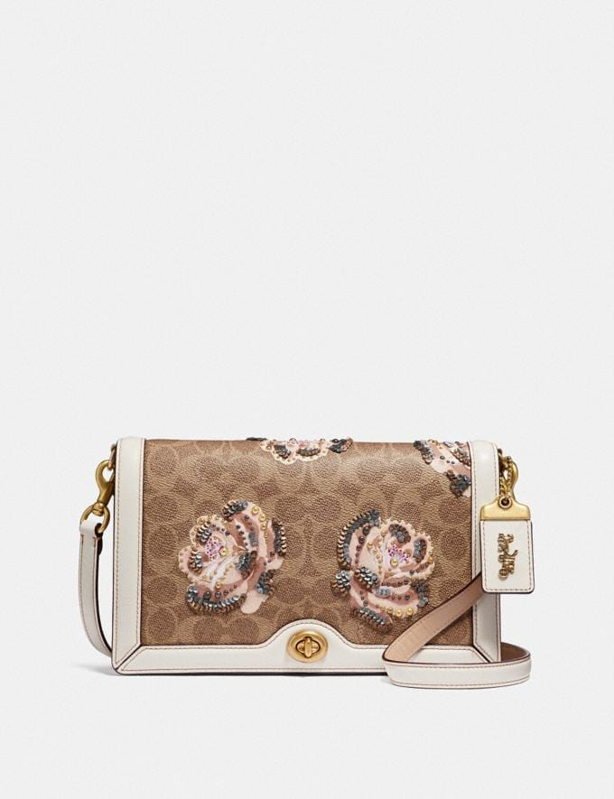 Coach Riley in Embellished Signature Rose Print B4/Chalk