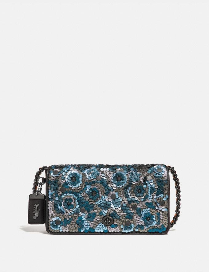 Coach Dinky With Leather Sequin Blue Multi/Black Copper
