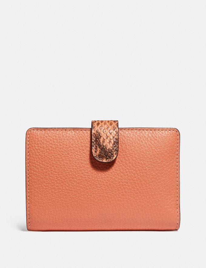 Coach Medium Corner Zip Wallet in Colorblock Signature Canvas Light Coral/Multi/Gold