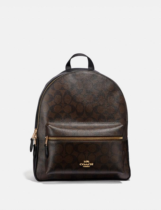 Coach Medium Charlie Backpack in Signature Canvas Brown/Black/Light Gold
