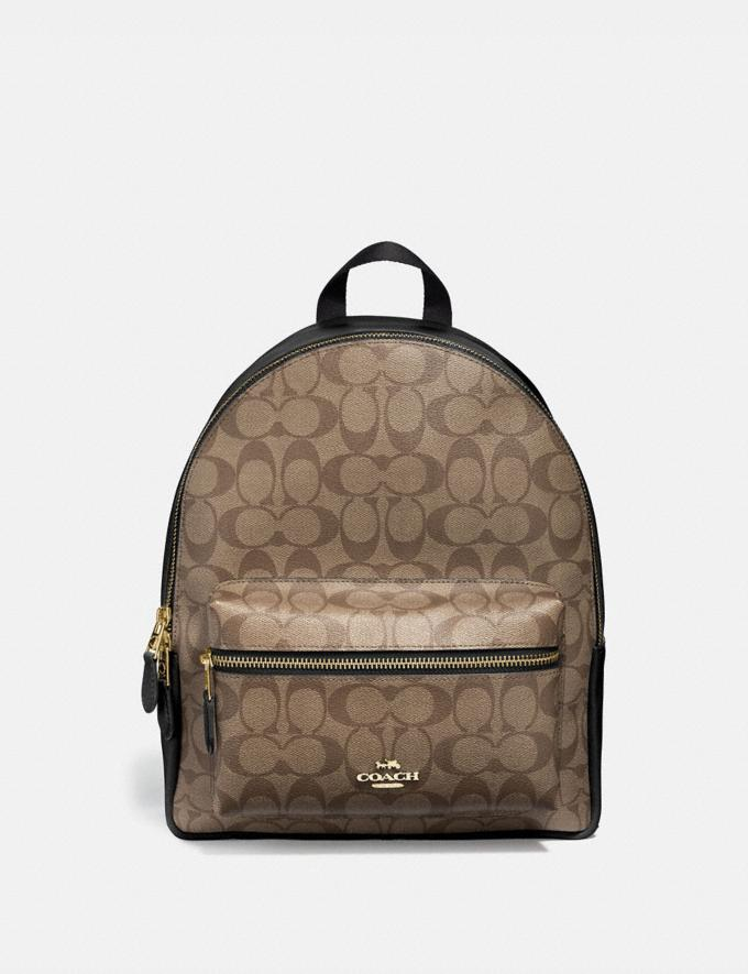 Coach Medium Charlie Backpack in Signature Canvas Im/Khaki/Black