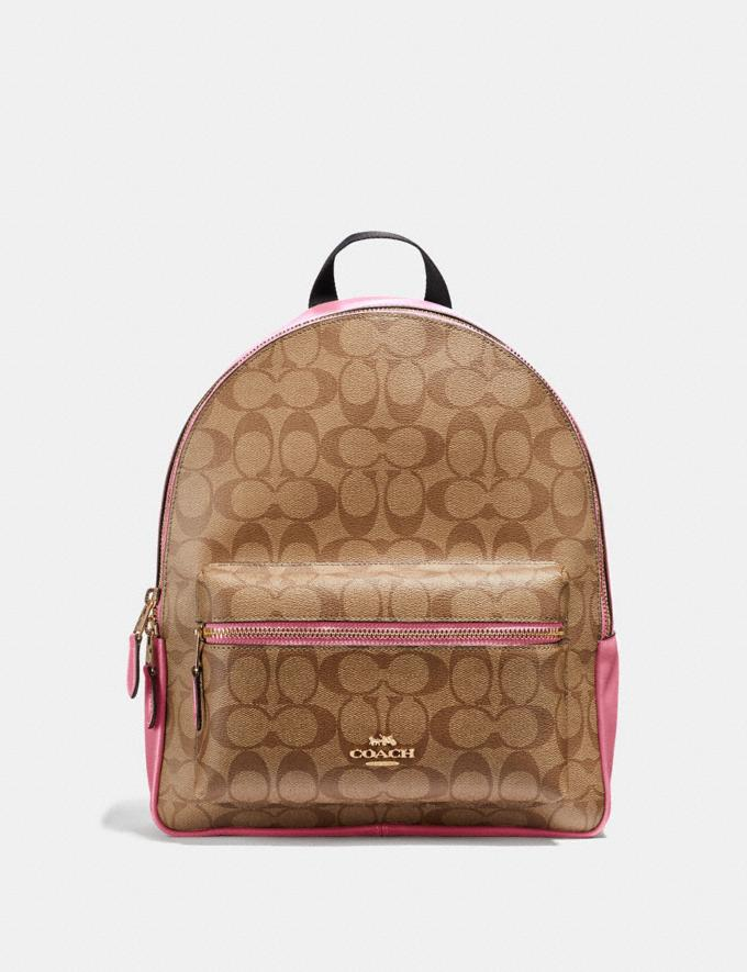 Coach Medium Charlie Backpack in Signature Canvas Khaki/Pink Ruby/Gold Explore Bags Bags Backpacks