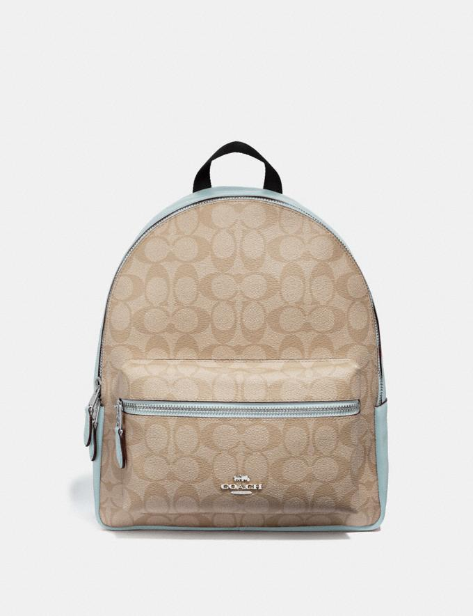 Coach Medium Charlie Backpack in Signature Canvas Light Khaki/Seafoam/Silver