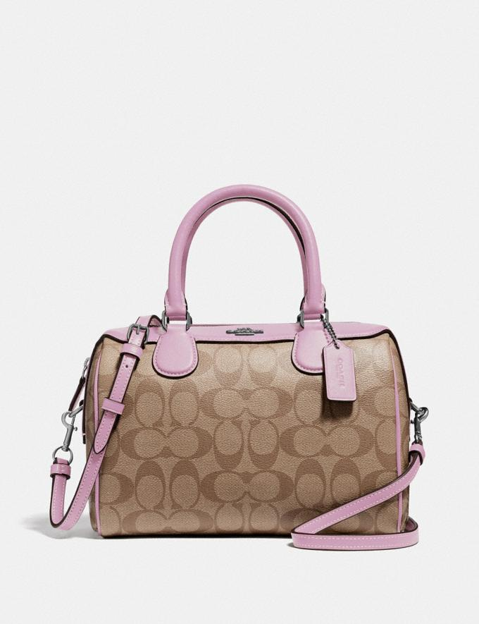 Coach Mini Bennett Satchel in Signature Canvas Khaki/Lilac/Silver
