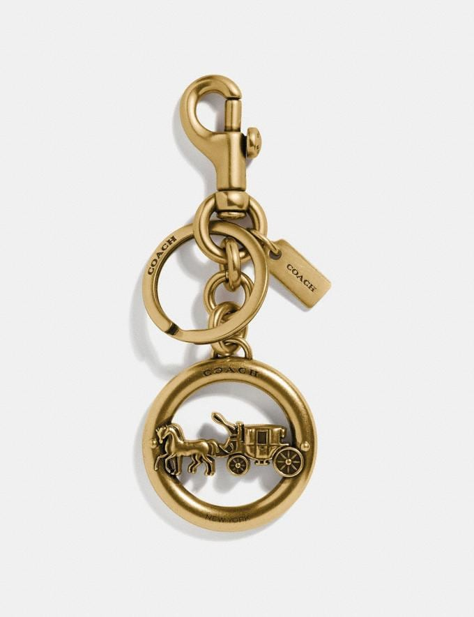 Coach Horse and Carriage Pendant Bag Charm Gold