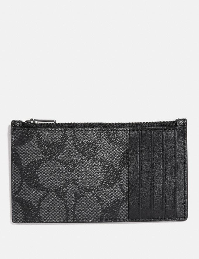 Coach Zip Card Case in Signature Canvas Charcoal/Black