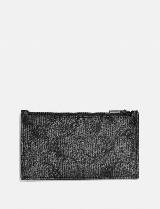 Coach Zip Card Case in Signature Canvas Charcoal/Black  Alternate View 1