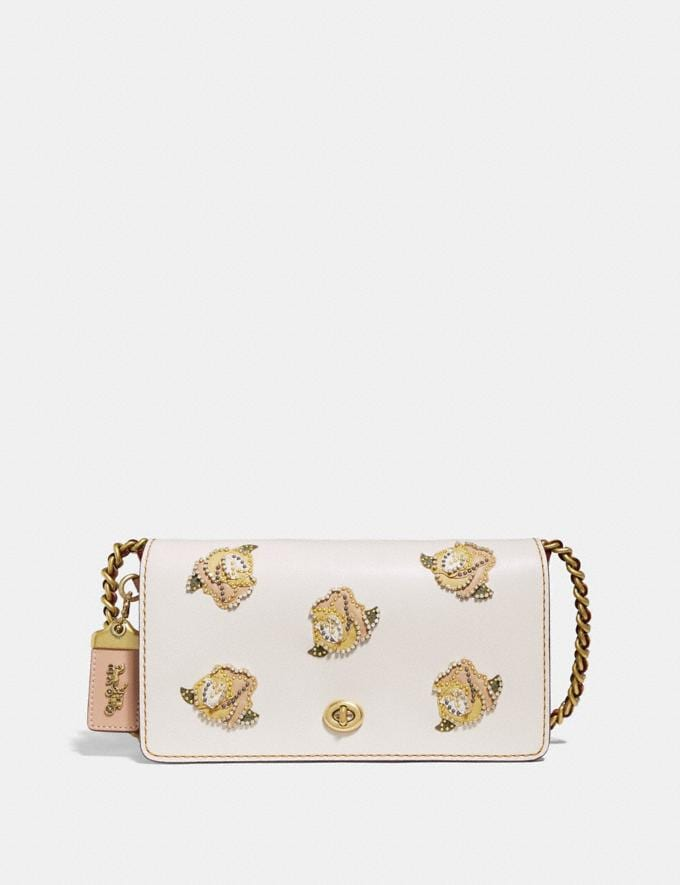 Coach Dinky With Rose Applique Chalk/Brass