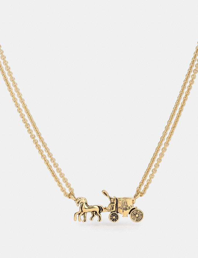 Coach Horse and Carriage Double Chain Necklace Gold