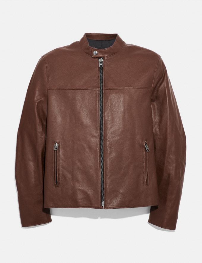 Coach Leather Racer Jacket Dark Fawn