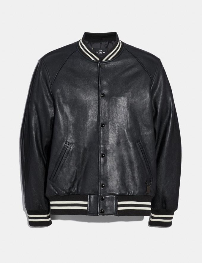 Coach Leather Varsity Jacket Black