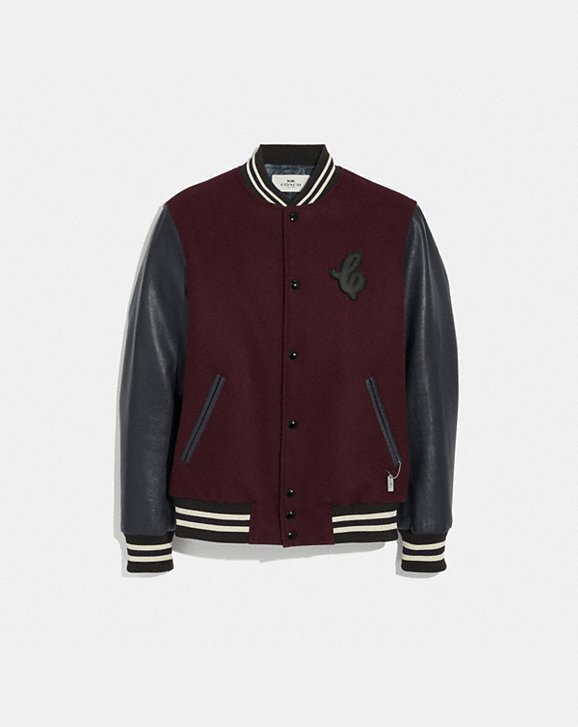 Coach LEATHER AND WOOL VARSITY JACKET