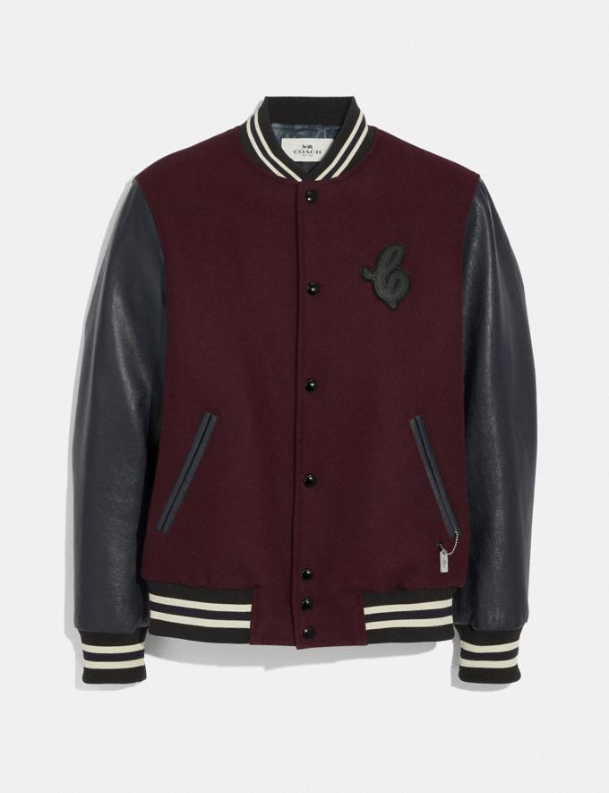 Coach Leather and Wool Varsity Jacket Burgundy/Navy