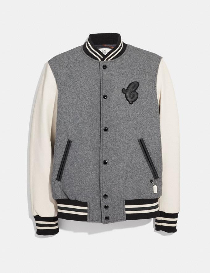 Coach Leather and Wool Varsity Jacket Heather Grey