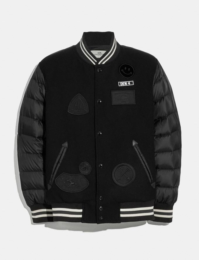 Coach Down Varsity Jacket With Patches Black