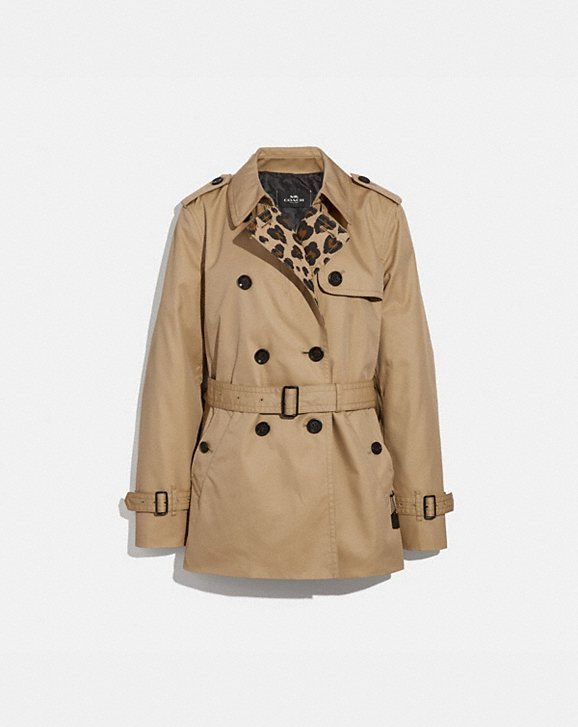 Coach LEOPARD PRINT SHORT TRENCH