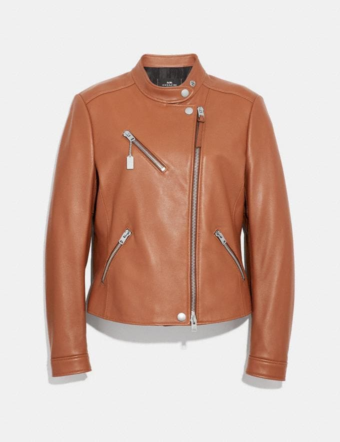 Coach Uptown Racer Jacket Saddle