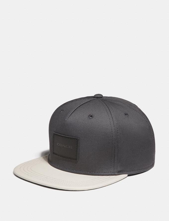 Coach Colorblock Flat Brim Hat Charcoal/Chalk