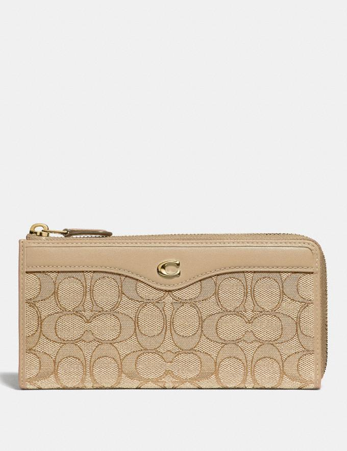 Coach L-Zip Wallet in Signature Jacquard Light Khaki/Beechwood/Light Gold Clearance Wallets & Wristlets
