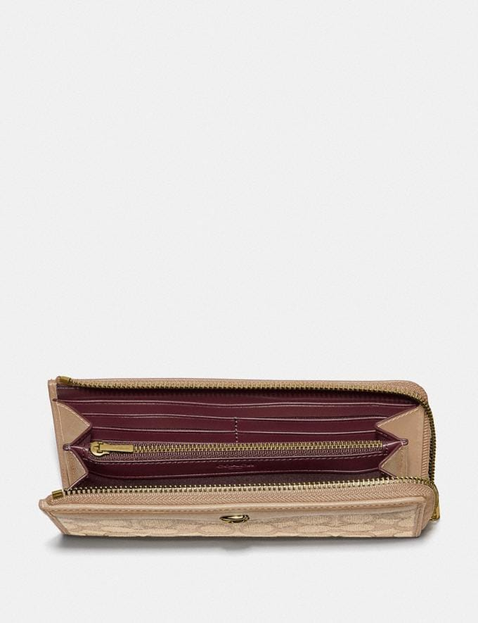 Coach L-Zip Wallet in Signature Jacquard Light Khaki/Beechwood/Light Gold Clearance Wallets & Wristlets Alternate View 1