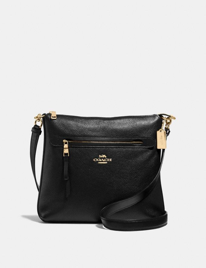 Coach Mae File Crossbody Black/Light Gold Women Bags