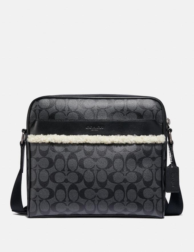 Coach Charles Camera Bag in Signature Canvas Charcoal/Black/Black Copper Finish Clearance Men