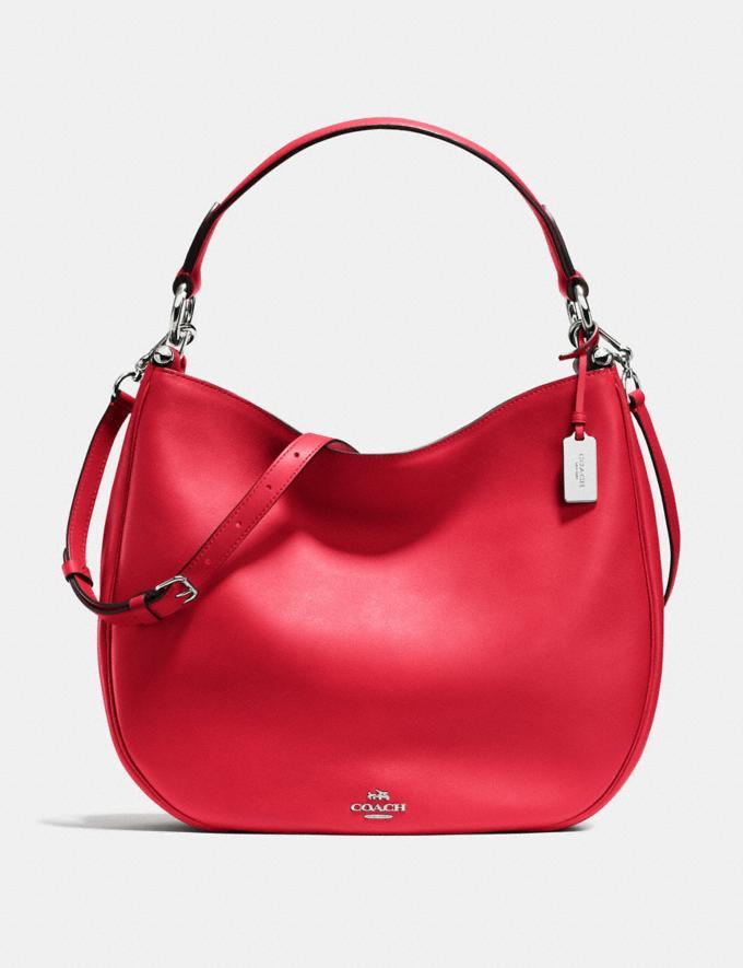 Coach Mae Hobo True Red/Silver Bags Shoulder Bags