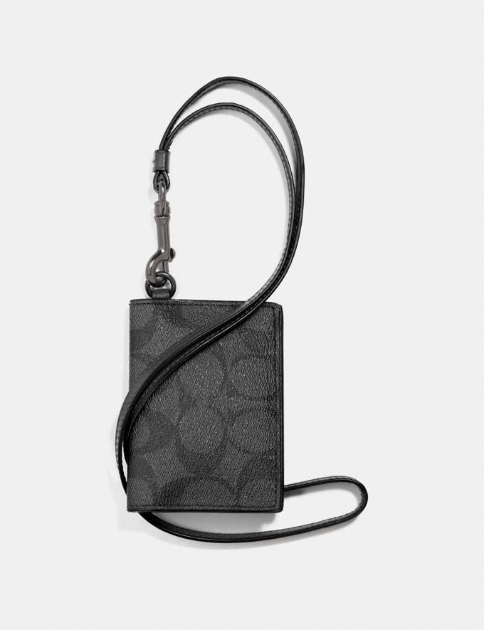 Coach Id Card Case Lanyard in Signature Canvas Charcoal/Black/Black Antique Nickel