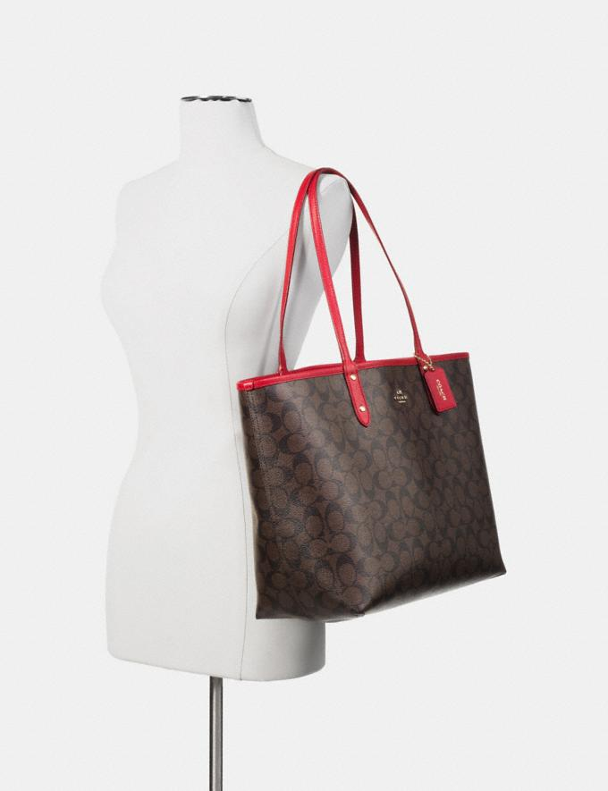 Coach Reversible City Tote in Signature Canvas Light Khaki/Carnation/Silver  Alternate View 3