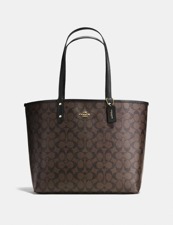Coach Reversible City Tote in Signature Canvas Brown/Black/Light Gold Explore Bags Bags Totes