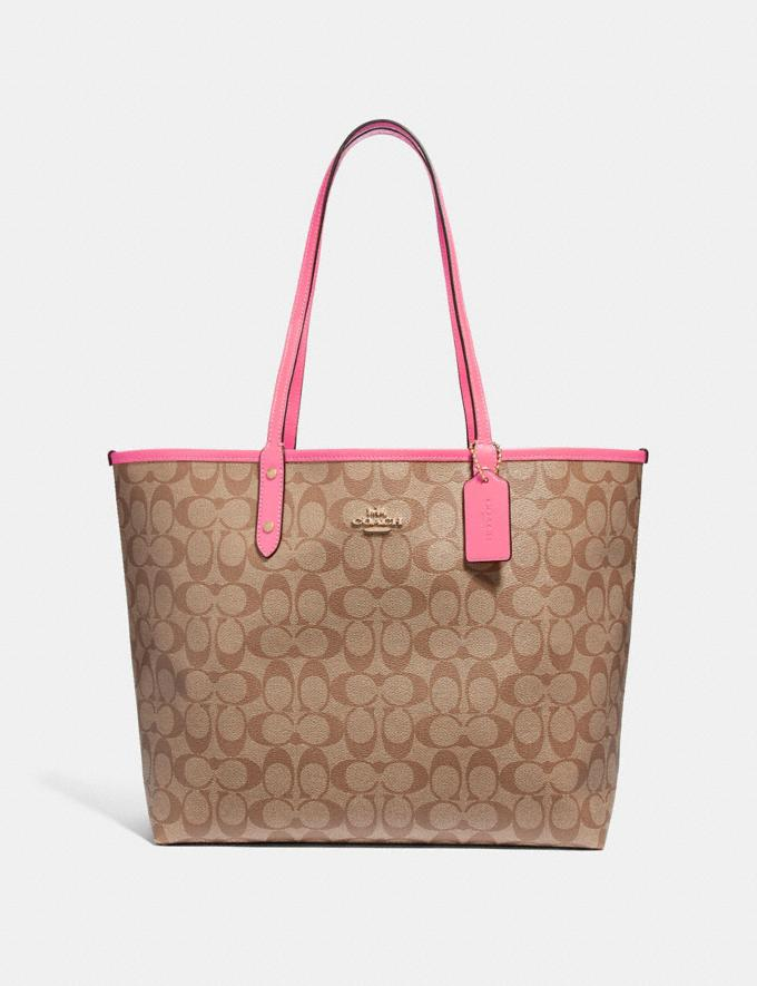 Coach Reversible City Tote in Signature Canvas Khaki/Pink Ruby/Gold Explore Bags Bags Totes