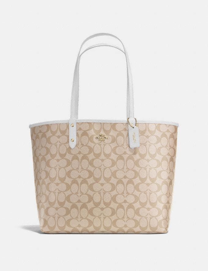 Coach Reversible City Tote in Signature Canvas Light Khaki/Chalk/Imitation Gold Explore Bags Bags Totes