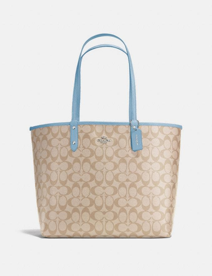 Coach Reversible City Tote in Signature Canvas Light Khaki/Carnation/Silver