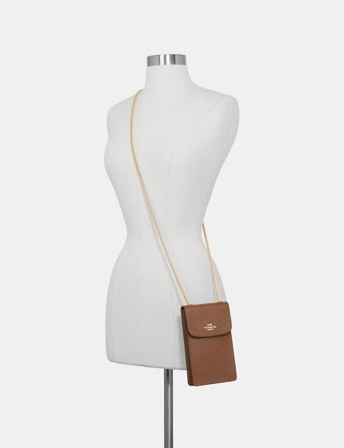 Coach North/South Phone Crossbody Saddle 2/Imitation Gold Explore Bags Bags Crossbody Bags Alternate View 2