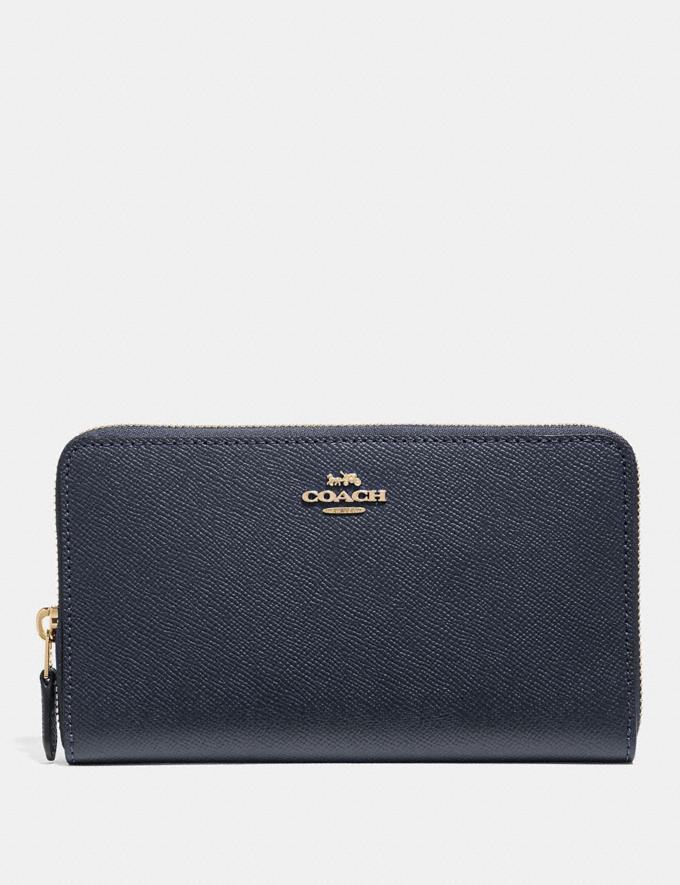 Coach Continental Zip Around Wallet Midnight/Imitation Gold
