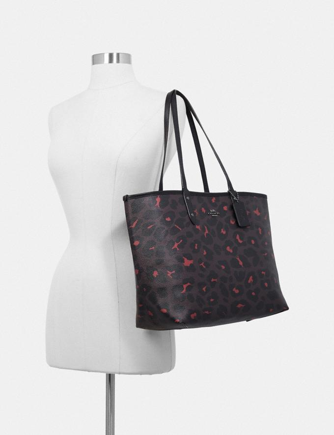 Coach Reversible City Tote With Leopard Print Im/Black Natural  Alternate View 5