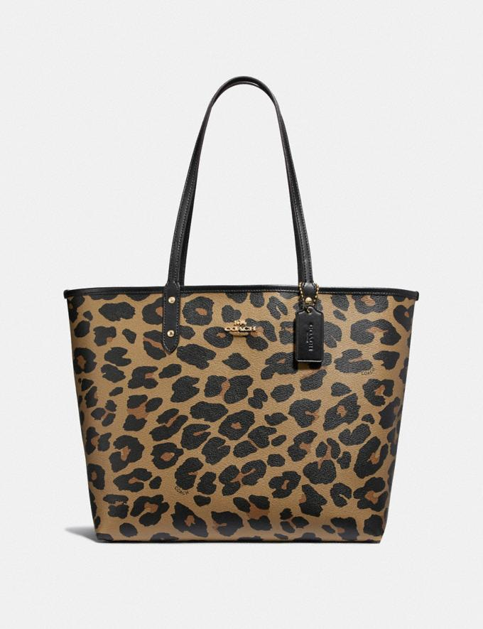 Coach Reversible City Tote With Leopard Print Im/Black Natural
