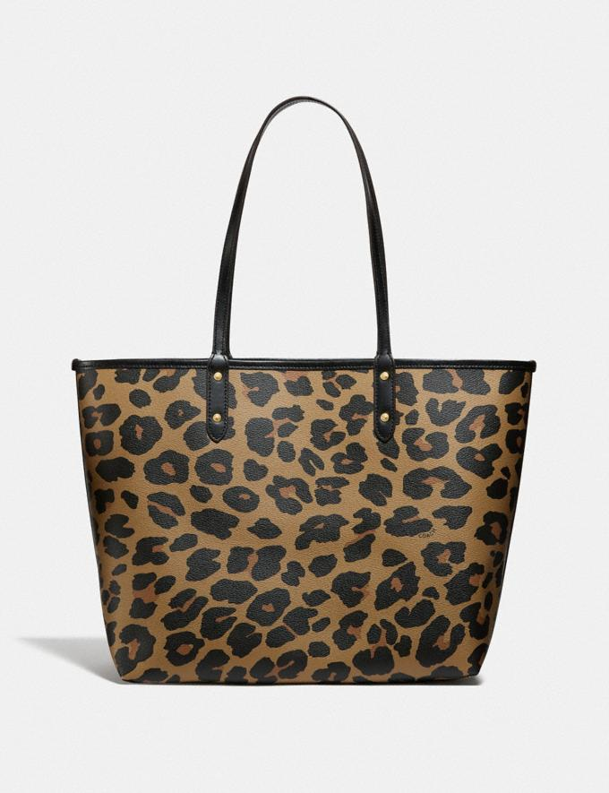 Coach Reversible City Tote With Leopard Print Im/Black Natural  Alternate View 2