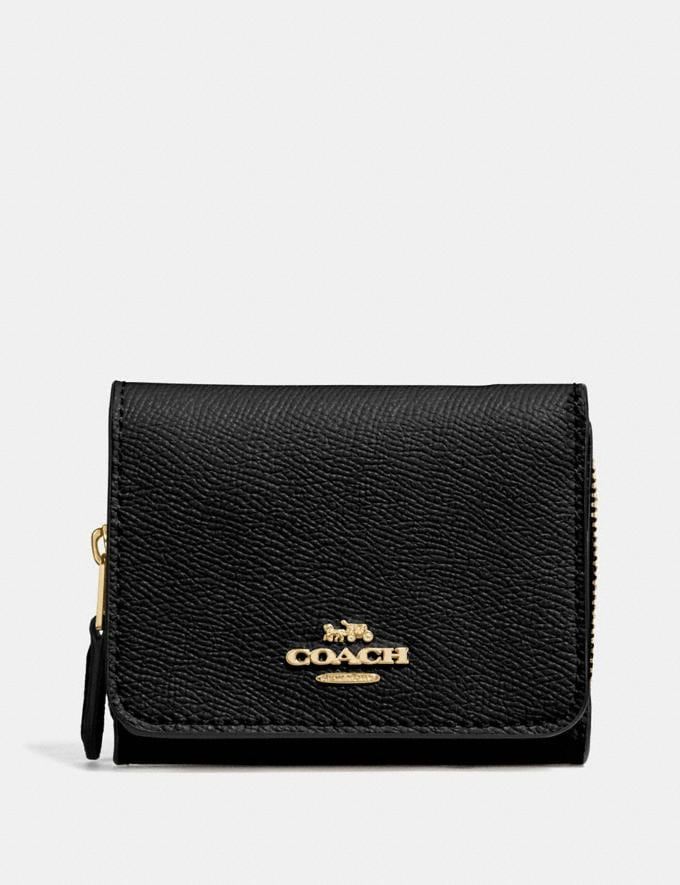 Coach Small Trifold Wallet Black/Light Gold