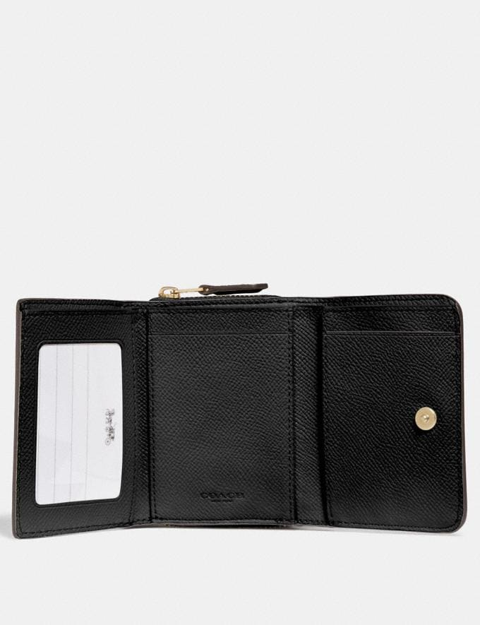 Coach Small Trifold Wallet Black/Light Gold  Alternate View 1