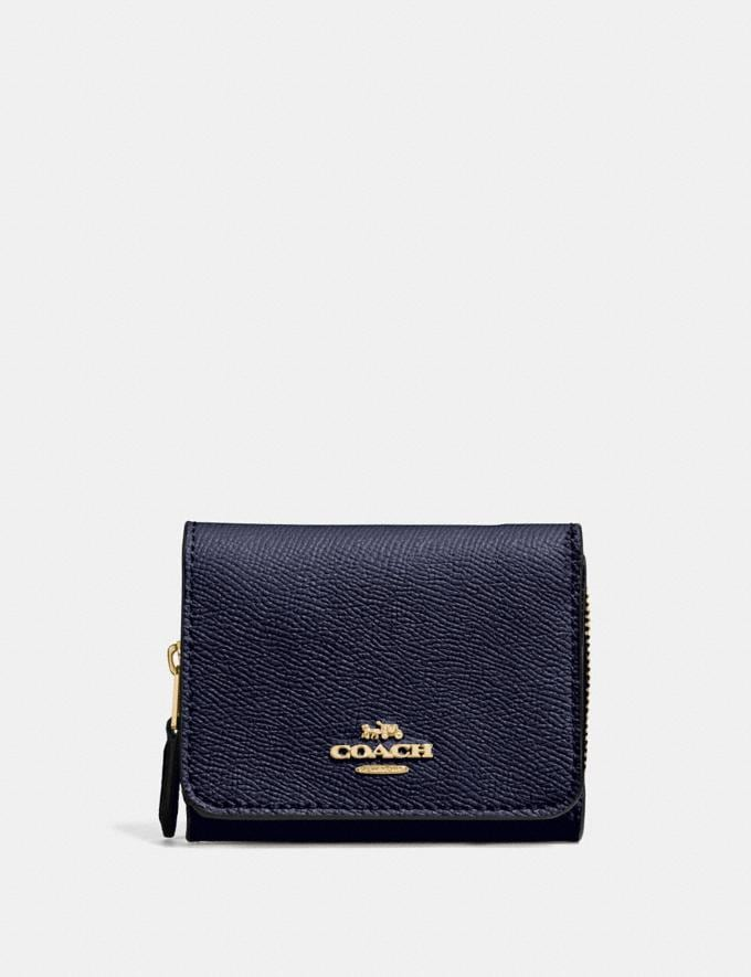 Coach Small Trifold Wallet Midnight/Light Gold