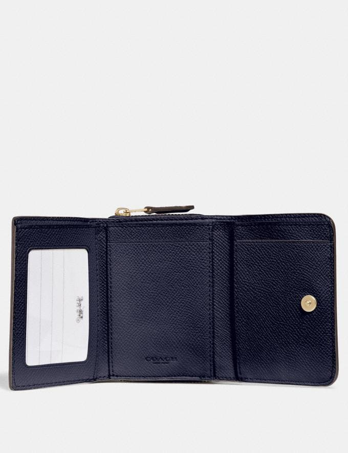 Coach Small Trifold Wallet Midnight/Light Gold  Alternate View 1