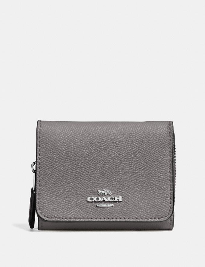 Coach Small Trifold Wallet Heather Grey/Silver Accessories