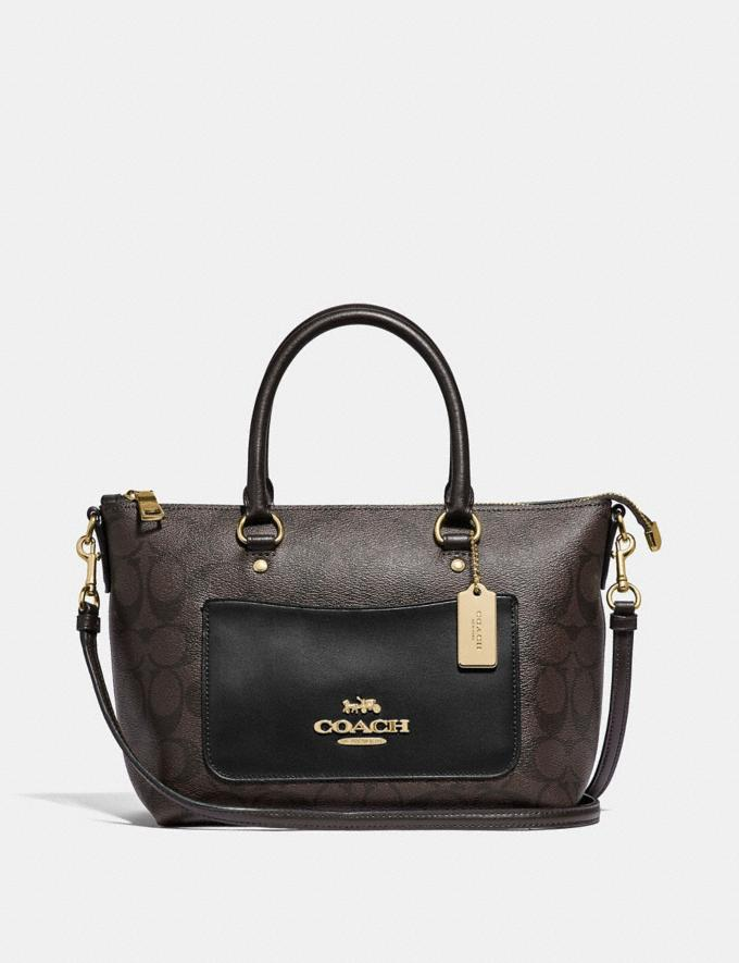 Coach Mini Emma Satchel in Signature Canvas Brown/Black/Imitation Gold Explore Bags Bags Satchels