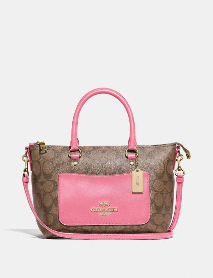 Coach Mini Emma Satchel in Signature Canvas Khaki/Pink Ruby/Gold Explore Bags Bags Satchels