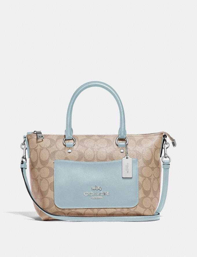Coach Mini Emma Satchel in Signature Canvas Light Khaki/Seafoam/Silver Explore Bags Bags Satchels