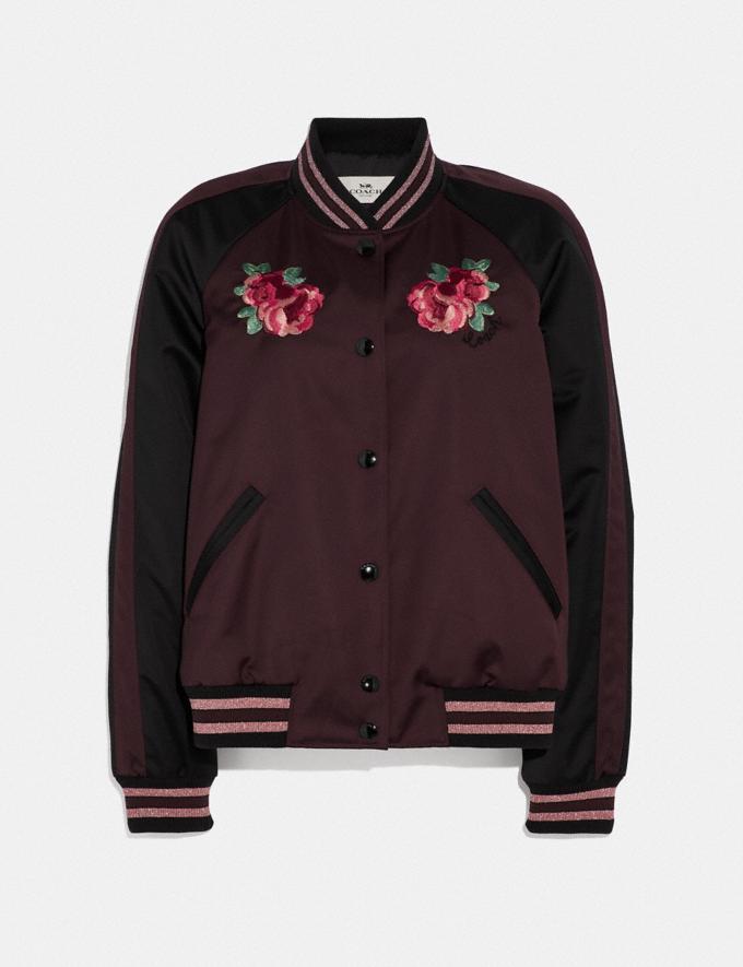 Coach Floral Embroidered Souvenir Jacket Dark Burgundy null